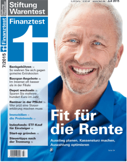 Stiftung Warentest Finanztest - Fit für die Rente